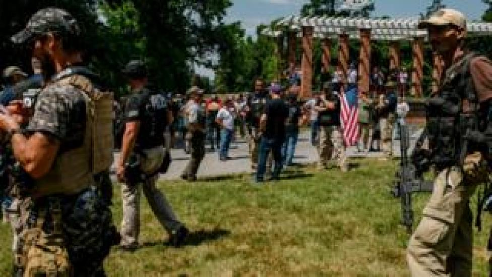 trump White nationalists assemble to protect the historic grounds in Gettysburg, Pennsylvania, 4 July 2020
