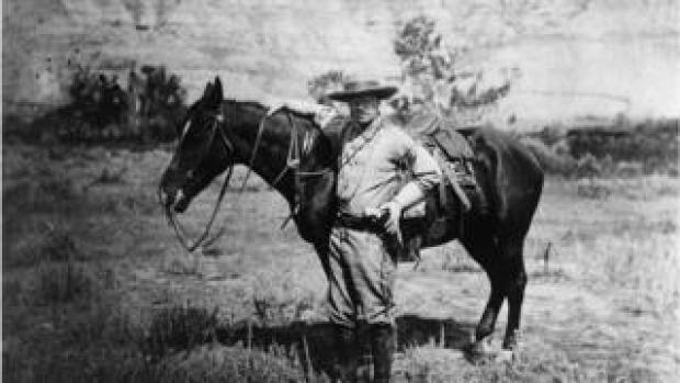 1885: American politician and future President of the United States of America, Theodore Roosevelt (1858 - 1919) during a visit to the Badlands of Dakota after the death of his first wife.