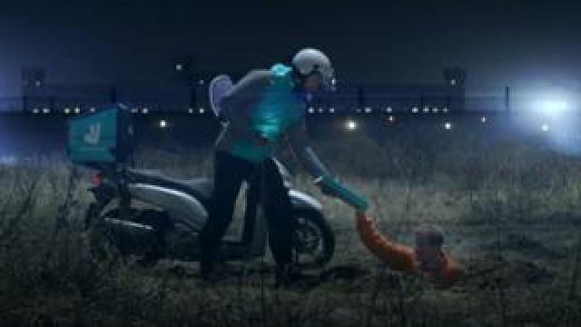 Scene from banned Deliveroo ad