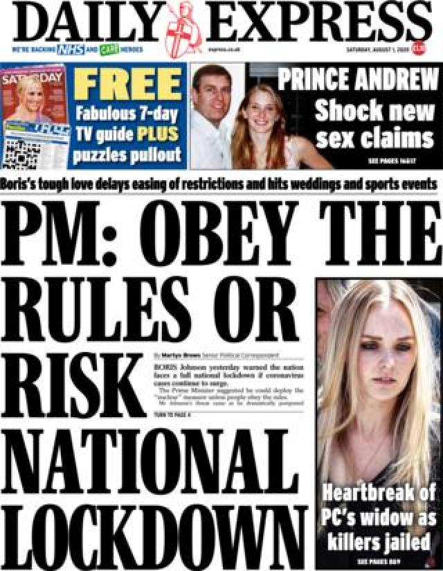 The Daily Express front page 1 August