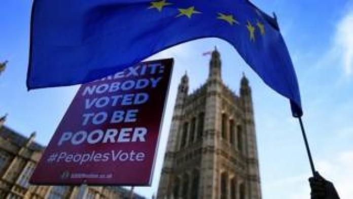 "Placard demanding a ""People's Vote outside Parliament"