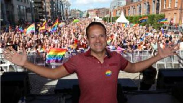 Leo Varadkar on stage at Pride festival