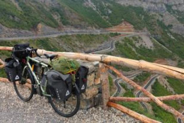 Rebecca Lowe's bike on the Montenegro-Albania border