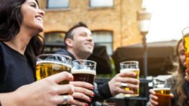 People drinking in a beer garden