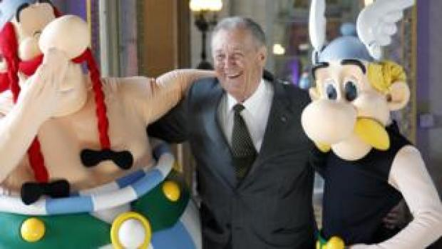 Albert Uderzo with his creations Asterix (r) and Obelix