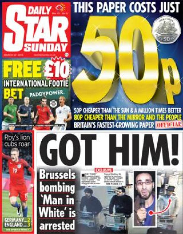 Daily Star Sunday front page