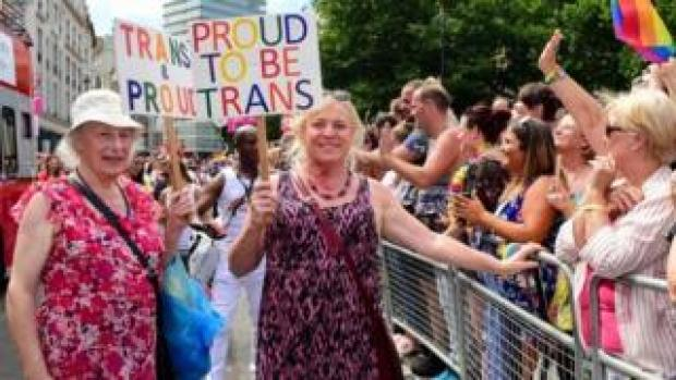 "Transgendered pensioner Margaret Pepper (formerly Maurice), 73 (L) holds a placard ""trans and Proud"" as she takes part in London Pride parade in London, Britain, 08 July 2017."