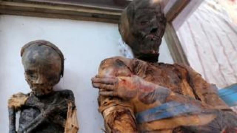The wrapped and preserved bodies of a mother and child