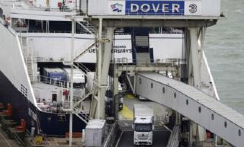 Cars and lorries depart at ferry in Dover