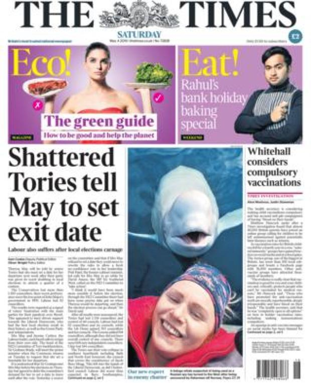 Front page of the Times.