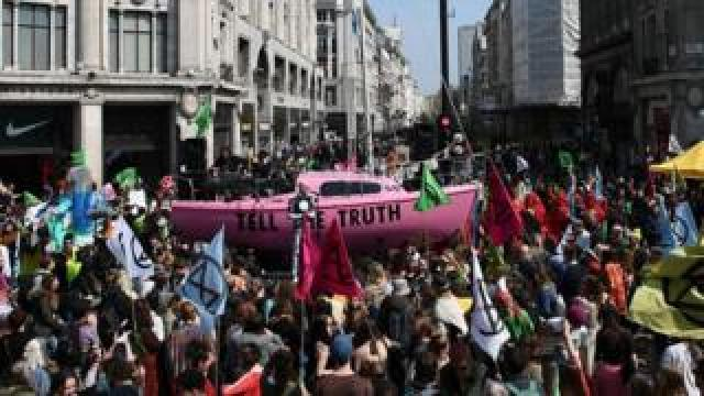 Extinction Rebellion protesters at Oxford Circus