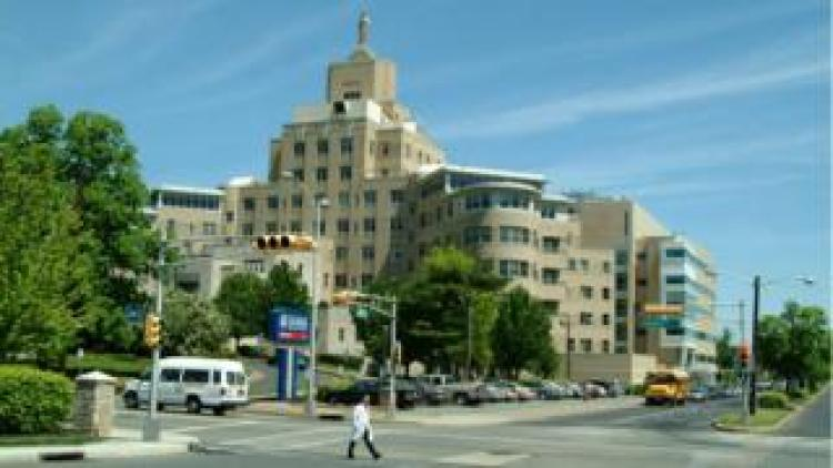 An exterior of the hospital in Camden, New Jersey