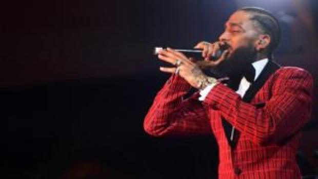 Nipsey Hussle performing before the Grammy Awards, 7 February 2019