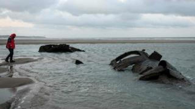 Wreckage of a German submarine which ran aground off the coast of Wissant in July 1917 and has resurfaced due to to sand movements