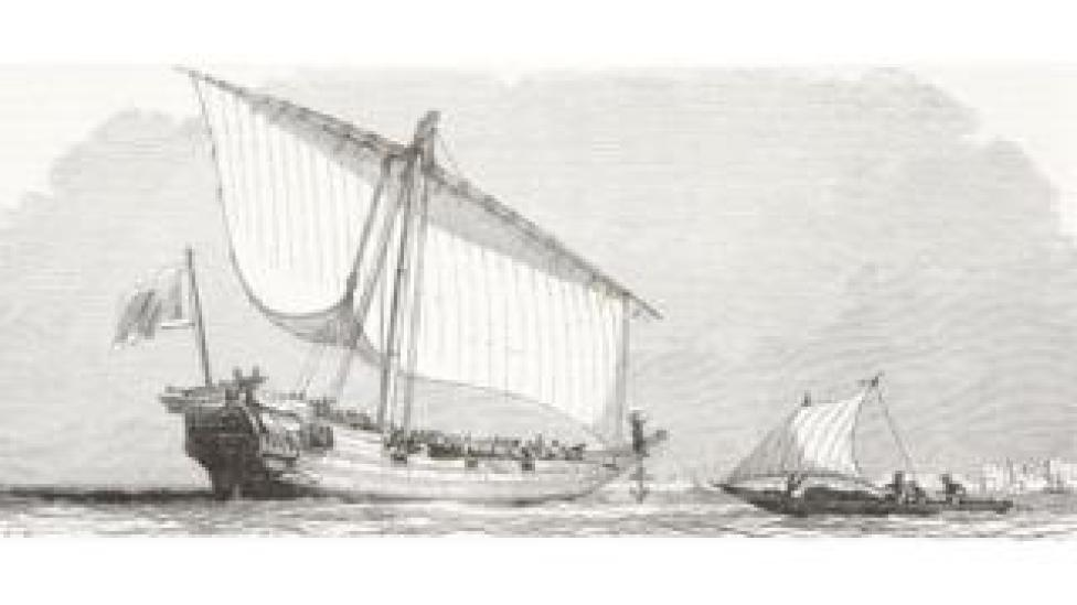 Slave ship off the African coast; illustration from the magazine L'Illustration, Journal Universel, vol 14, no 348, October 1849