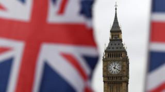 Big Ben between flags