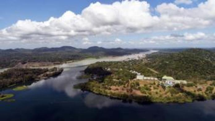 Aerial view of the Panama Canal next to Gatun Lake