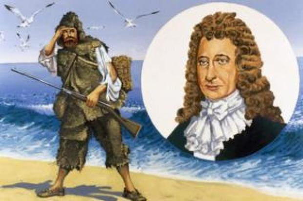 Daniel Defoe and Robinson Crusoe illustration