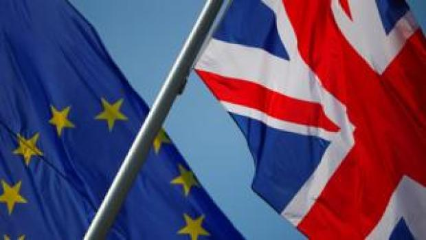 European Union and British flags