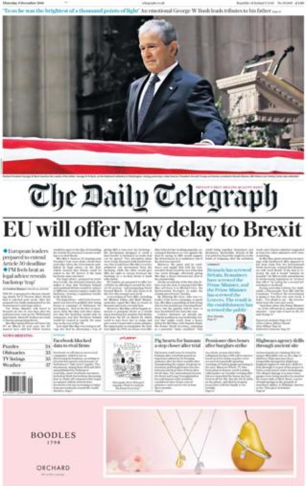 The Daily Telegraph front page, 6/12/18