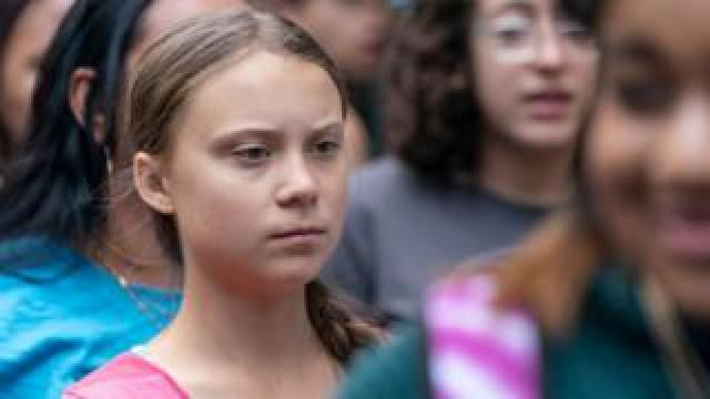 Greta Thunberg at a climate march in New York City