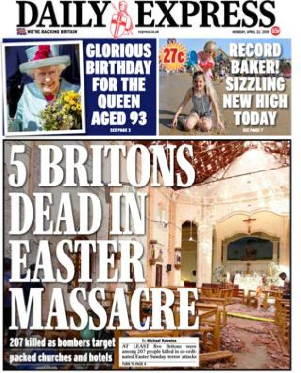 Daily Express front page 22/04/19