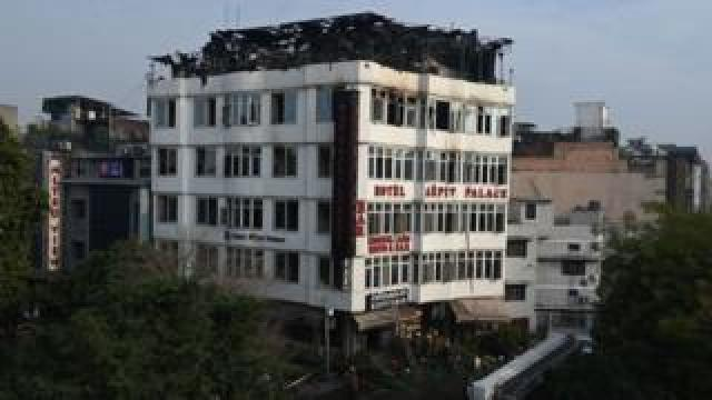 The Hotel Arpit Palace after a fire broke out on its premises in New Delhi on February 12, 2019.