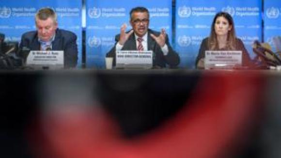 World Health Organization (WHO) Health Emergencies Programme Director Michael Ryan, WHO Director-General Tedros Adhanom Ghebreyesus and WHO Technical Lead Maria Van Kerkhove attend a daily press briefing on COVID-19,