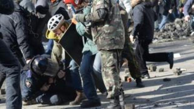 A photo from Ukraine of pro-democracy protesters