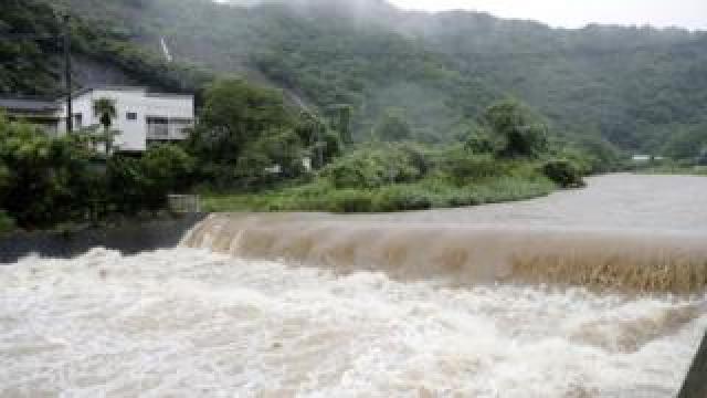 The Futami River is swollen due to heavy rain in Yatsushiro, Kumamoto Prefecture, Kyushu island