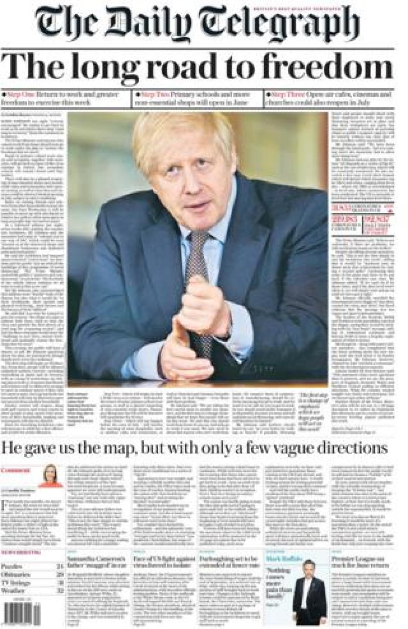 The Daily Telegraph front page 11 May