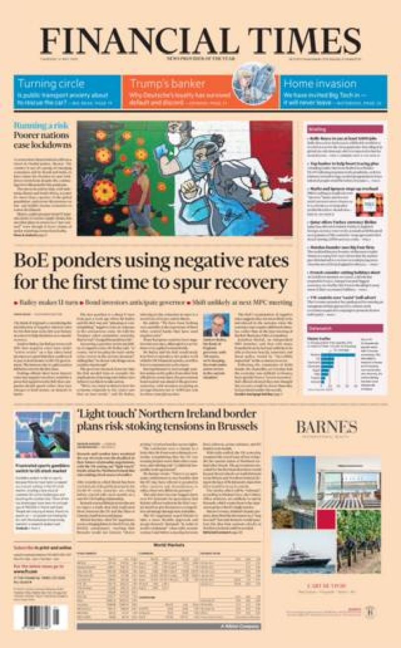 Financial Times front page 21/05/20