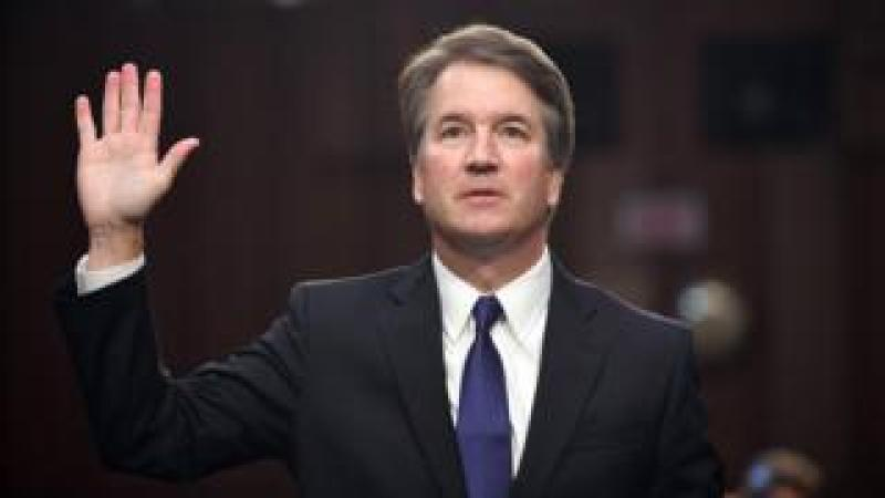 In this file photo taken on September 4, 2018 Judge Brett Kavanaugh is sworn in during his US Senate Judiciary Committee confirmation hearing