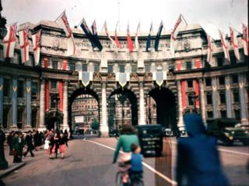 Admiralty Arch in London on VE Day
