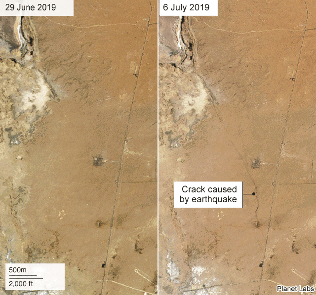 A before and after picture provided by Planet Labs