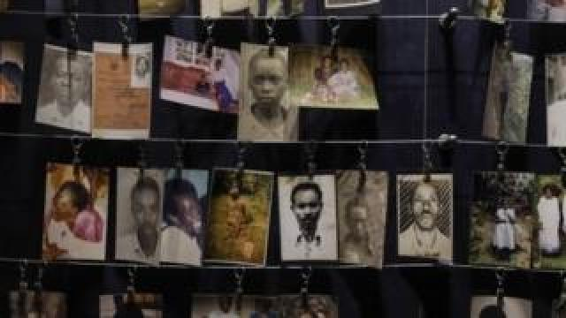 Pictures of the Rwandan genocide victims donated by survivors are displayed at an exhibition at the Genocide Memorial in Gisozi in Kigali