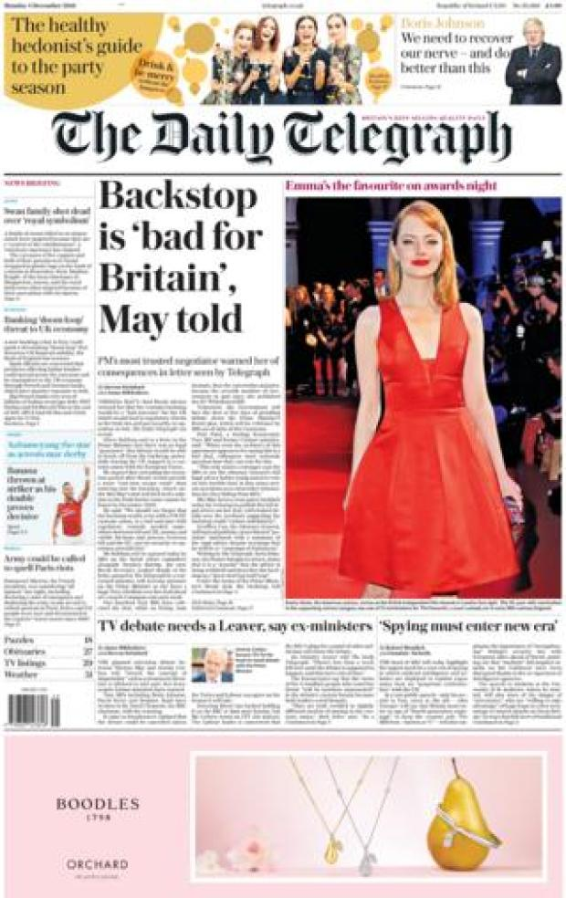 Daily Telegraph front page, 3/12/18
