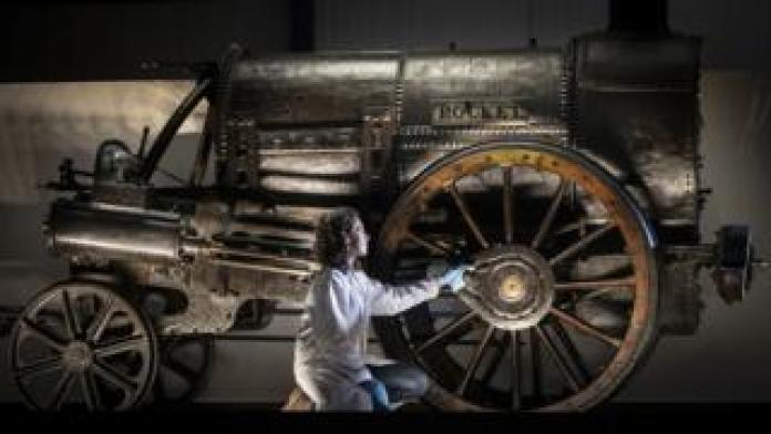 Chief Curator Wendy Somerville-Woodiwis Unveils Stephenson Rocket at New Home, National Railway Museum, York, September