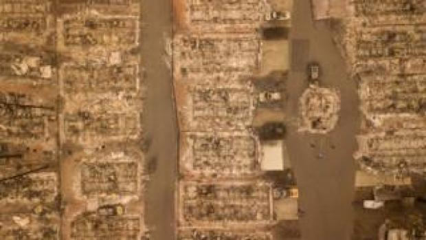 Aerial photo of burned-out neighbourhood in Paradise, California - 15 November 2018