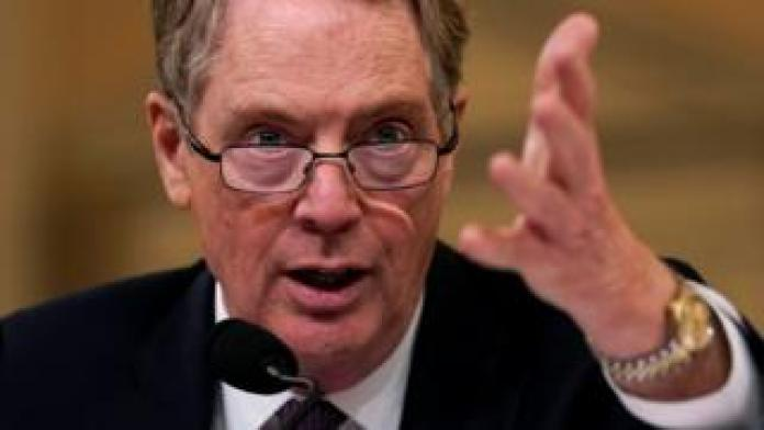 """U.S. Trade Representative Robert Lighthizer testifies before House Ways and Means Committee hearing on """"U.S.-China Trade"""" on Capitol Hill in Washington U.S.,"""