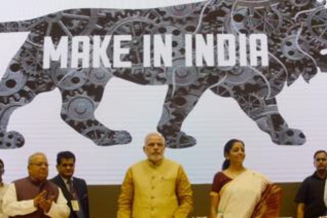 Indian Prime Minister Narendra Modi launches the 'Make In India' project.