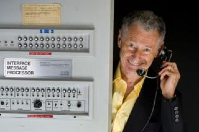 UCLA professor of computer science Leonard Kleinrock with the first IMP