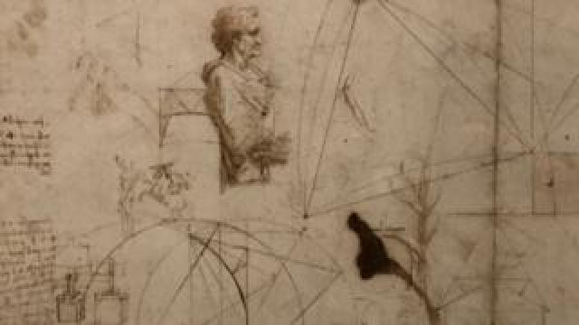 A drawing by Leonardo da Vinci, pen and brown ink on paper, created circa 1490 and on loan from The Royal Collection