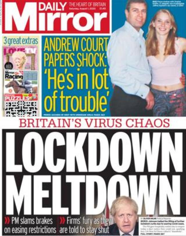 Daily Mirror front page 1 August
