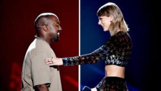 Side-by-side collage of Kanye and Taylor