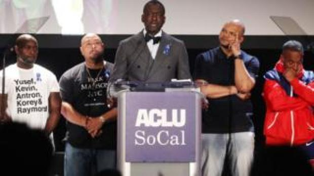 The Central Park Five appear on stage at the American Civil Liberties Union (ACLU) of Southern California's 25th annual awards luncheon
