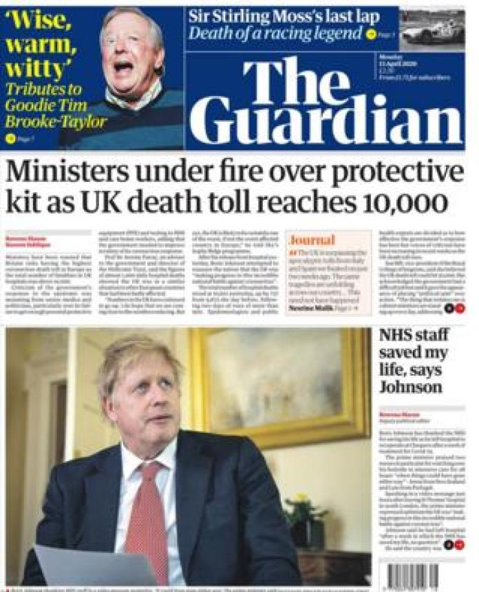 The Guardian front page 13 April