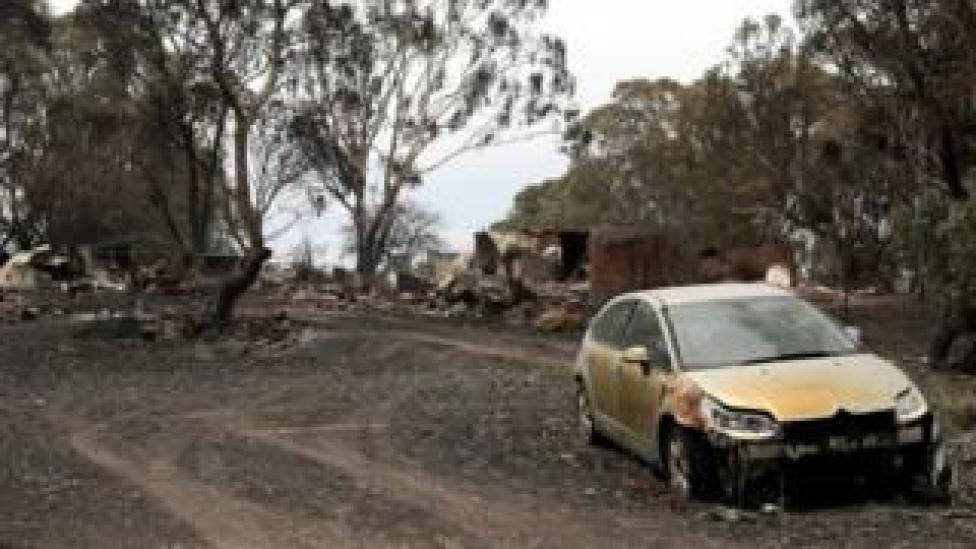 A burnt-out property in Woodside, New South Wales