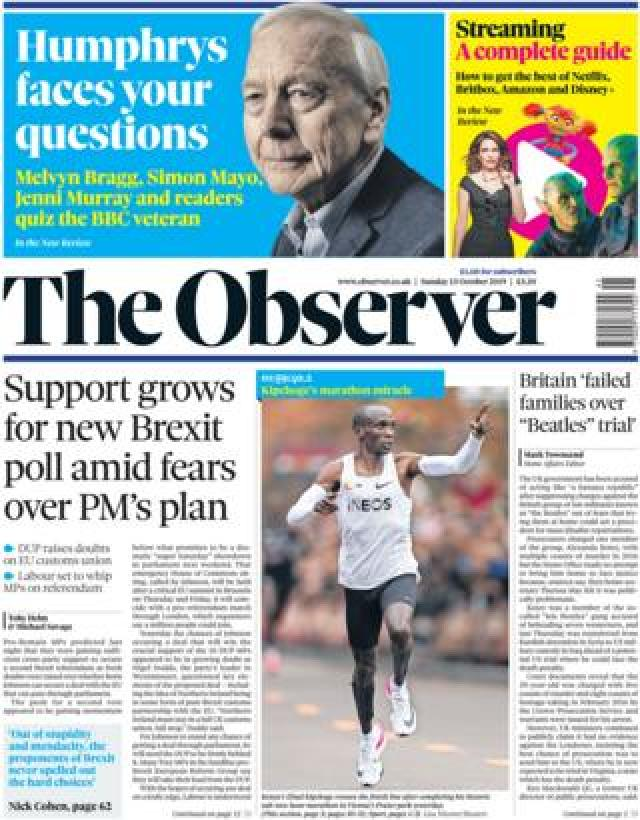 Front page of the Observer on 13 October 2019