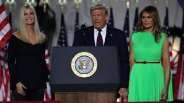 Ivanka, Donald and Melania Trump as Mr Trump accepts the Republican nomination at the White House
